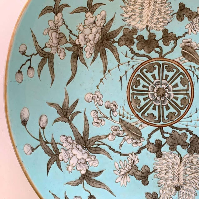 19th Century 19th Century Chinese Export Powder Blue Ho Ho Bird Motif Charger For Sale - Image 5 of 12