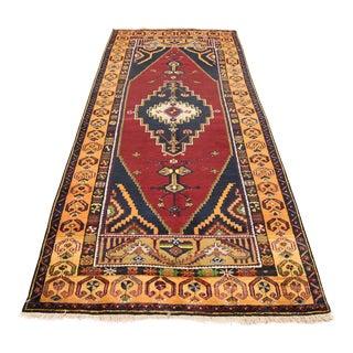 Vintage Turkish Tribal Design Rug - 4′2″ × 10′2″ For Sale