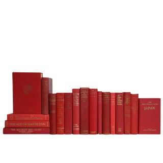 Vintage Ruby & Gilt World History Book Set, S/18 For Sale