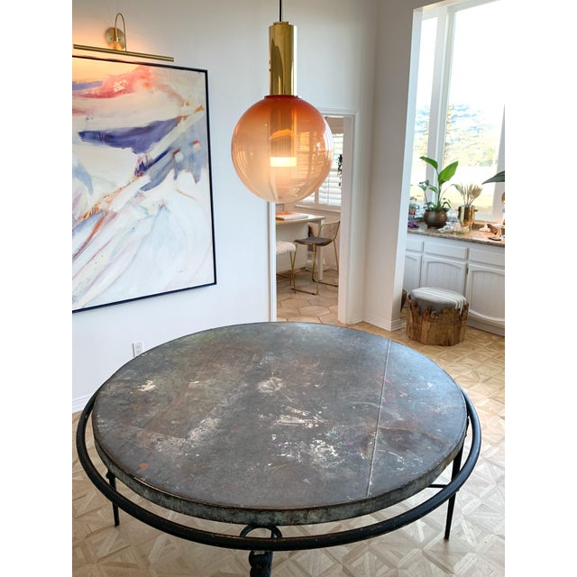 """Abstract Zinc & Wrought Iron Dining Table 60"""" For Sale - Image 3 of 6"""