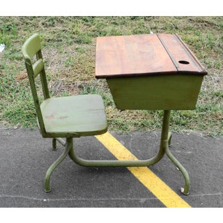 Vintage Industrial Children's School Desk with Chair Preview