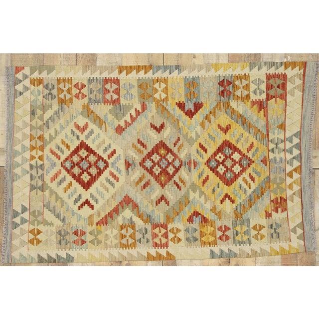 Tan 20th Century Boho Chic Afghani Shirvan Kilim Rug With Tribal Style For Sale - Image 8 of 11