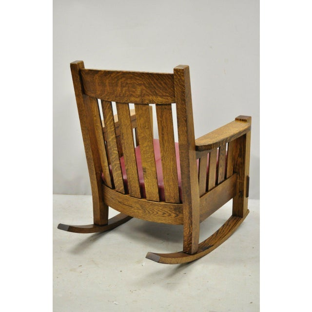 Early 20th Century Harden Mission Oak Arts & Crafts Stickley Style Rocking Chair Rocker Armchair For Sale - Image 9 of 13