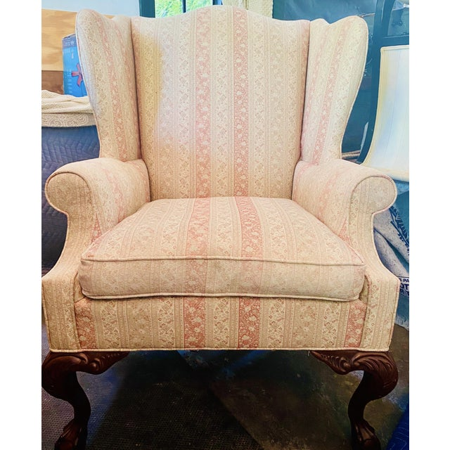 Wood Hickory Chair Company English Style Wingback Chair For Sale - Image 7 of 8