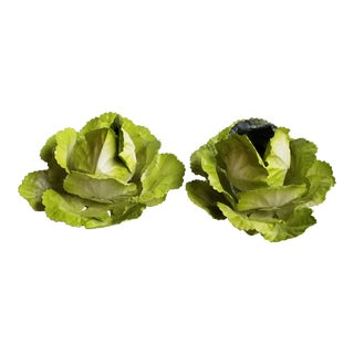 Vintage Petits Choses Green Tole Cabbage Votive Holders - Set of 2 For Sale