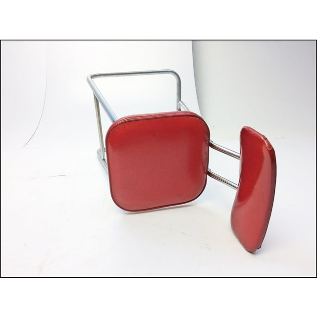 Mid Century Modern Red Vinyl Bar Stool - Image 10 of 11