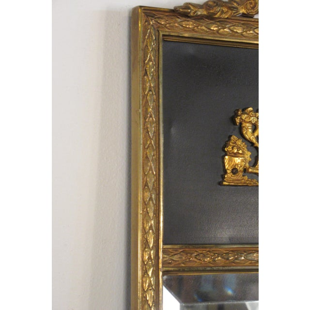 Metal 1950s French Brass Classical Small Trumeau Mirror For Sale - Image 7 of 11