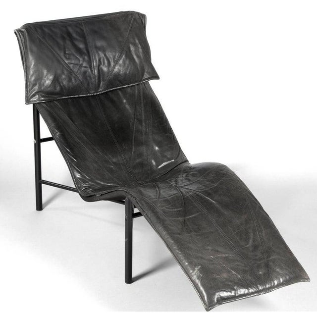 Black Tord Bjorklund Chaise Lounge in Black Leather For Sale - Image 8 of 13