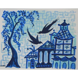 Chinoiserie Blue Landscape Painting by Cleo For Sale