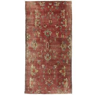 Vintage Turkish Oushak Carpet Runner, Wide Hallway Runner