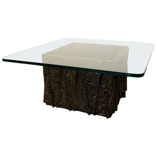 Glass and Bronze Brutalist Coffee Table by Paul Evans For Sale