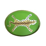 Image of Contemporary Green Painted Tole Leopard Serving Tray For Sale