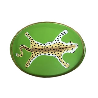 Contemporary Green Painted Tole Leopard Serving Tray