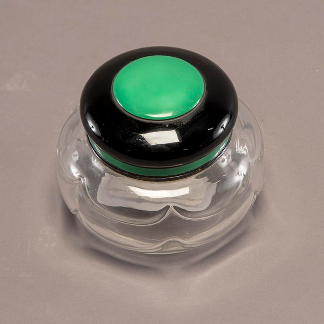 1930s Baccarat Art Decoand Sterling Perfume Bottle With Green Top For Sale - Image 5 of 13