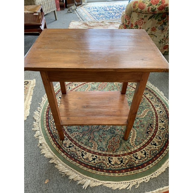 Antique Rustic Pine Two-Tier Side Table For Sale In New York - Image 6 of 9