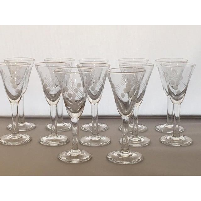 Vintage Etched Shot Glasses - Set of 12 - Image 6 of 9