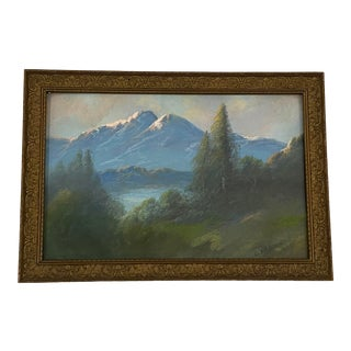 Carl Sammons Western Mountain Landscape Pastel Painting C.1920 For Sale