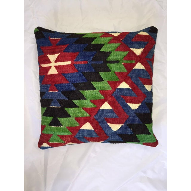 Blue, Red & Green Kilim Pillow Cover - Image 2 of 5