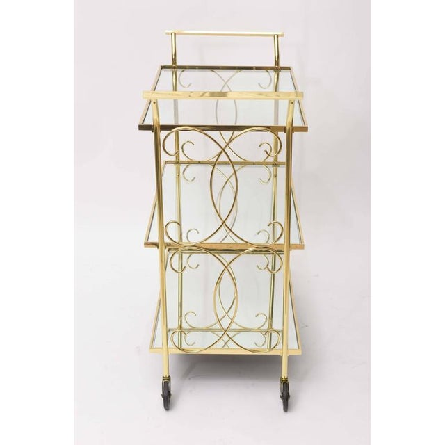 Mid-Century Italian Brass Bar Cart For Sale - Image 9 of 10