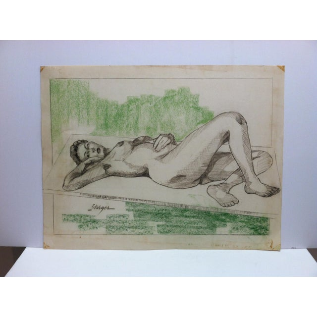 """1950s 1955 Vintage """"Sexy Woman - Laying Nude"""" Tom Sturges Jr. Original Drawing For Sale - Image 5 of 5"""