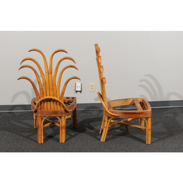 1950s Jaw-Dropping Set of 8 Custom Made Palm Frond Dining Chairs, Circa 1950 For Sale - Image 5 of 13