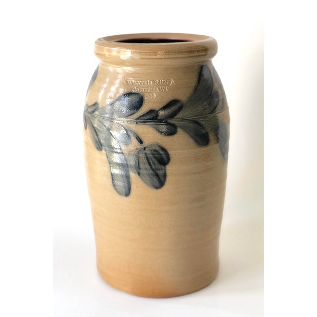 Farmhouse Salt Glazed Vase With Cobalt Blue Floral Motif - Vintage For Sale - Image 10 of 12