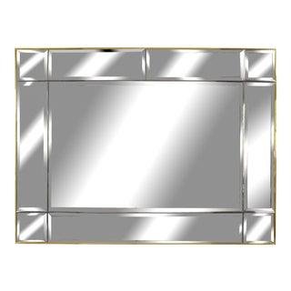 1970's Hollywood Regency Post Art Deco Geometric Brass Ten Panels of Beveled Mirror For Sale