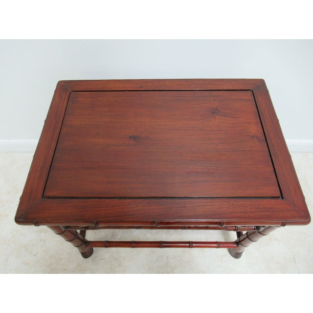 Vintage Chinese Chippendale Rosewood Faux Bamboo Lamp End Table For Sale - Image 4 of 10