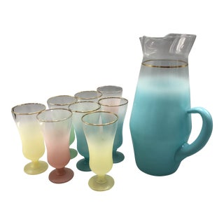 Mid-Century Multi Colored Frosted Glasses Plus a Pitcher With 8 Drinking Glasses - Set of 9 For Sale