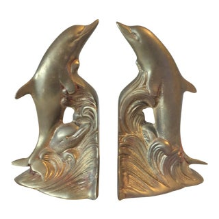 Regency Brass Dolphin Bookends - A Pair