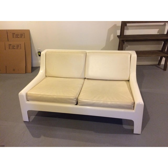 Danish Modern Fiberglass & Leather Sofa - Image 2 of 4