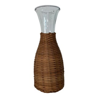 1970s Wicker Wrapped Decanter For Sale