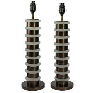 A Pair Of Industrial Style Table Lamps For Sale