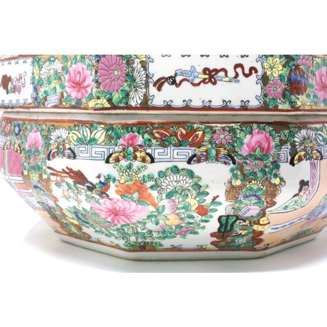 Vintage Asian Famille Rose Medallion Octagonal Treasure Bowl For Sale - Image 9 of 12