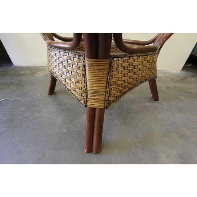 Wicker & Glass Top Dining Table - Image 5 of 8