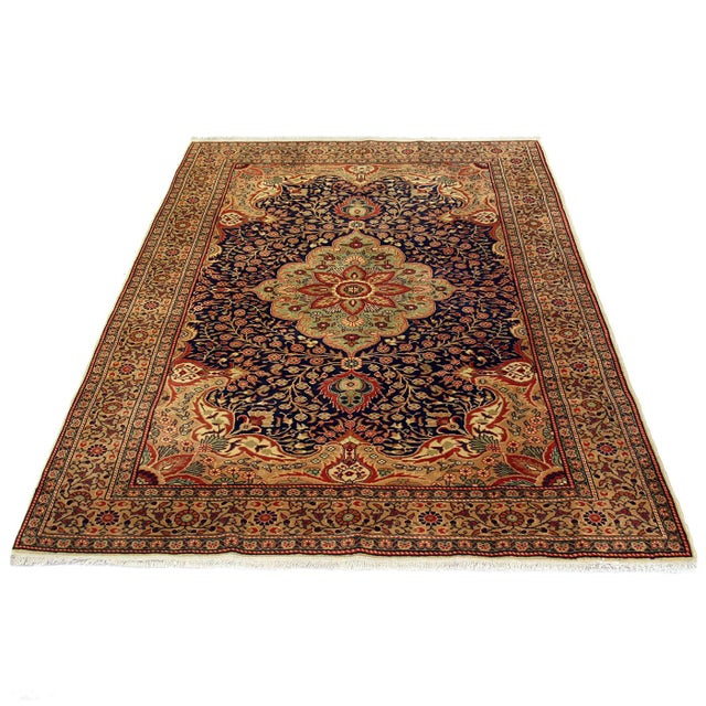 Vintage Turkish Kayseri Carpet Colors: navy, parchment, sand, rust, tomato red, eggplant, mint Kayseri carpets are...