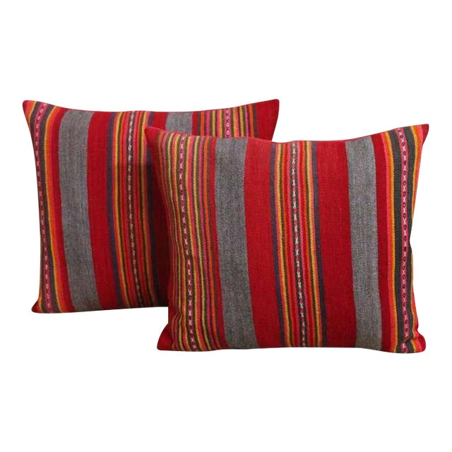 Colorful Pair of Early 20th Century Red and Gray Wool Striped Pillows For Sale