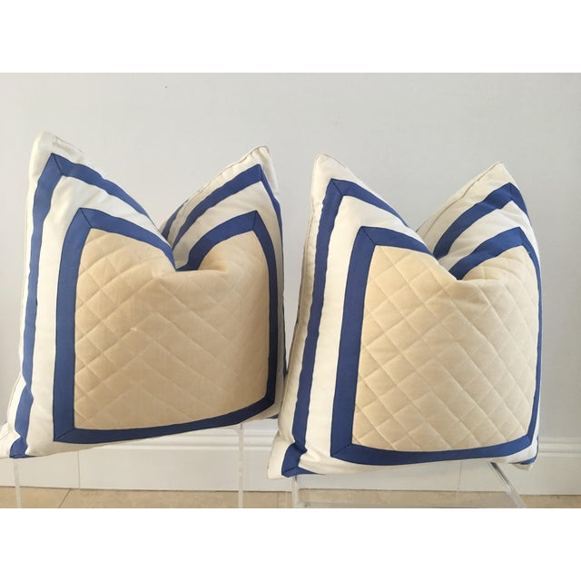 1990s Striped Quilted Pillows - A Pair For Sale - Image 4 of 4