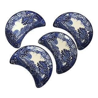 Blue Transferware Bone Dish Enoch Woods Castle Plates - Set of 4