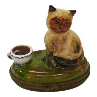 Limoges France Siamese Cat With Coffee Cup Box For Sale