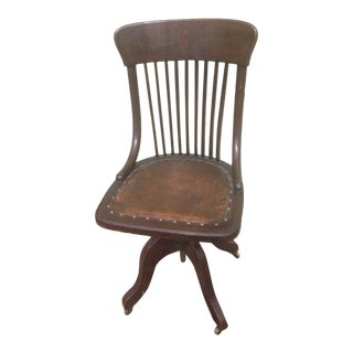 Early 20th Century Antique Gunlocke Style Leather Solid Dark Walnut Bankers Office Swivel Chair For Sale