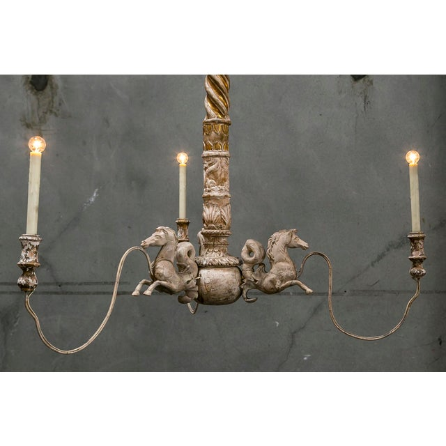 Hand Carved Venetian Horse Chandelier - Image 3 of 11
