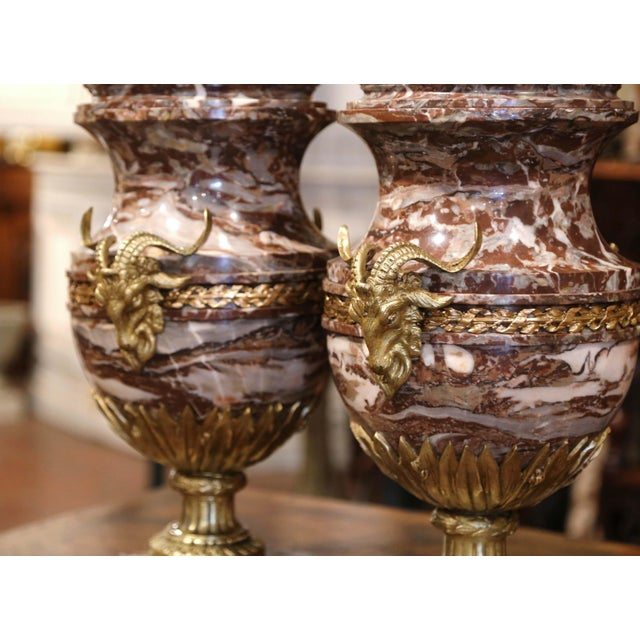 19th Century French Carved Variegated Marble and Bronze Cassolettes-A Pair For Sale - Image 4 of 12