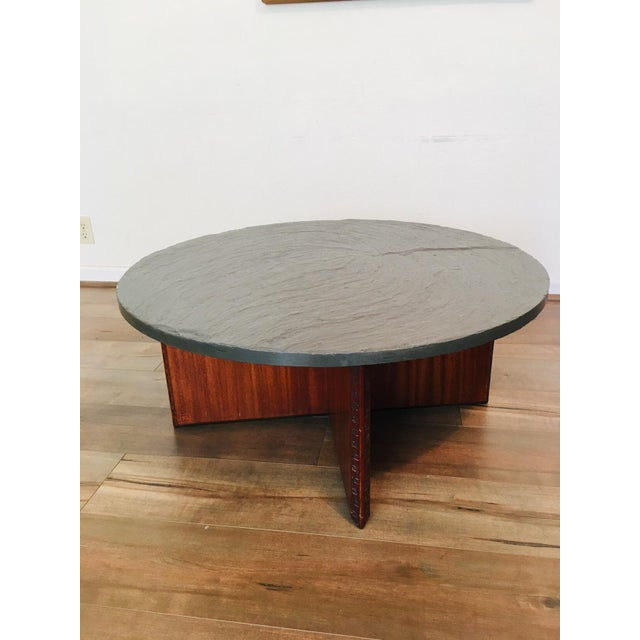 Frank Lloyd Wright for Henredon Coffee Table W/Slate Stone Top For Sale - Image 9 of 9