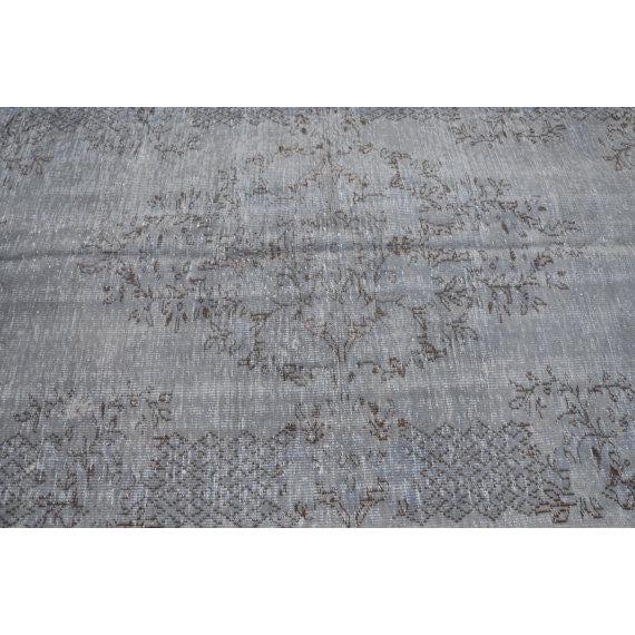 Vintage Turkish Handwoven Gray Oushak Area Rug - 5′2″ × 8′11″ For Sale - Image 4 of 6