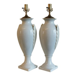 Lenox Art Deco Powder Blue Table Lamps - A Pair