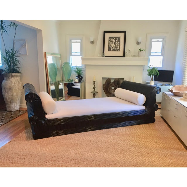 Exotic Asian Split Dark Dyed Reed Rattan Daybed For Sale - Image 4 of 13