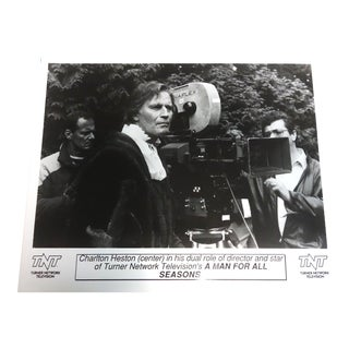 "Charlton Heston on Set of 1988 Shoot: ""A Man for All Seasons"" Original Publicity Photo For Sale"