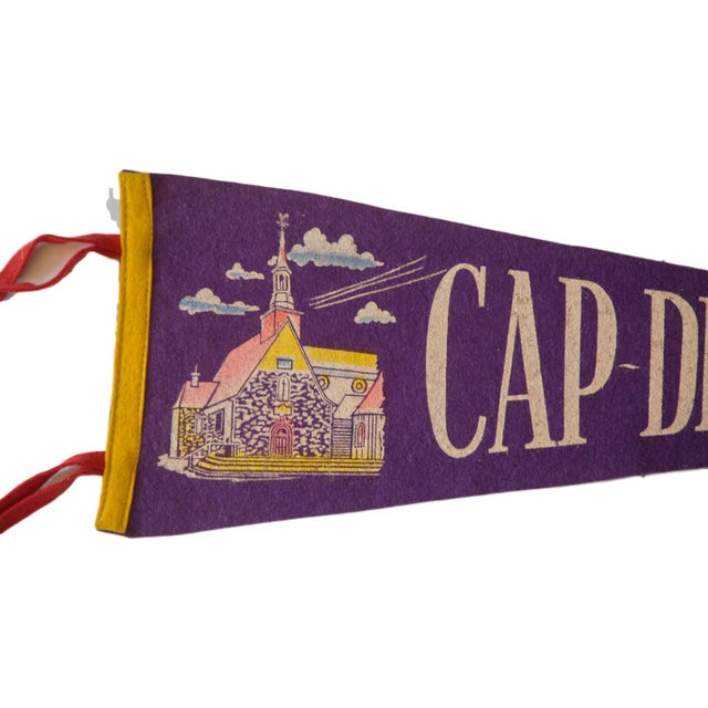 Charming felt flag banner pennant of Cap-de-le-Madeleine, circa the 1950's. Perfect vintage gift for a loved one or a gift...