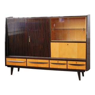 1970s West German Free Standing Wall Unit With a Drop Front Bar For Sale